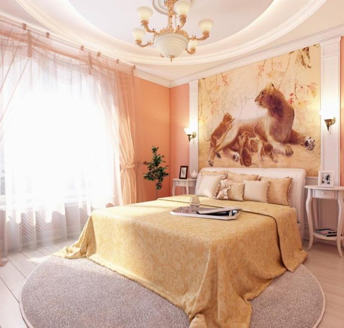 мебель и персиковые обои