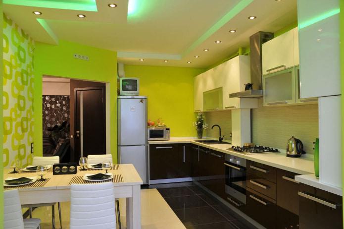 обои салатового цвета в интерьере кухни