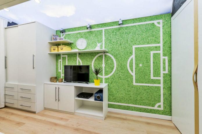зеленые жидкие обои с рисунком футбольного поля