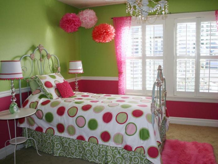 салатово-розовый интерьер
