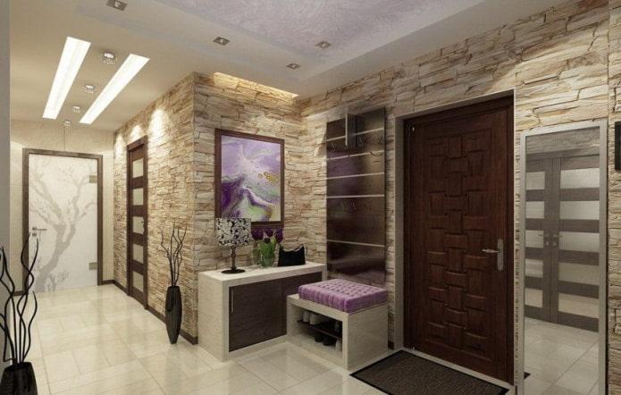 стены под камень в коридоре и прихожей