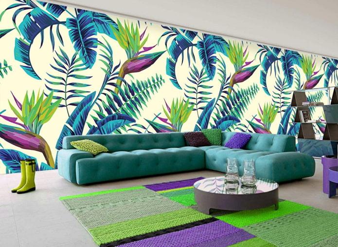 обои с тропическими цветами в гостиной