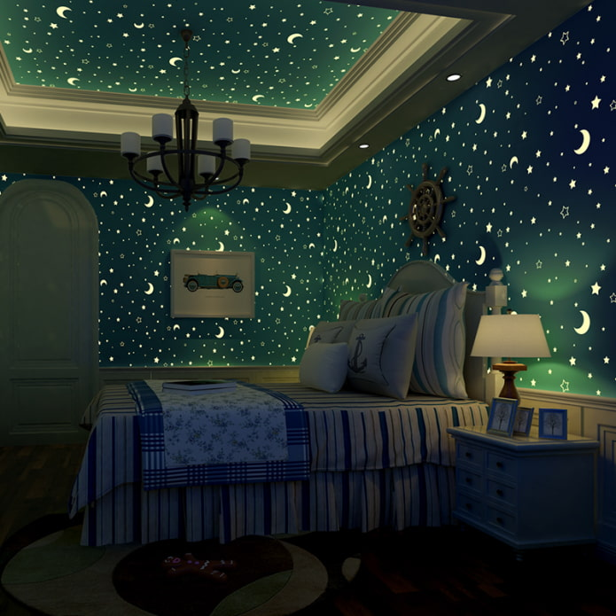 потолок со светящимися звездами