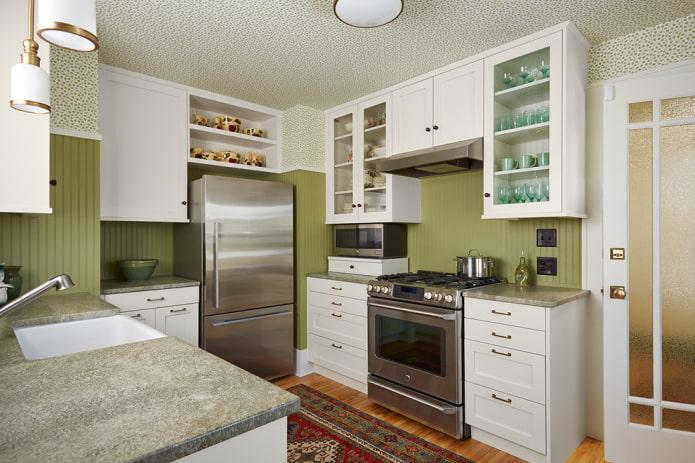 потолочные обои в интерьере кухни