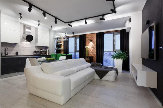 черные шторы белый диван