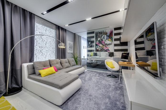 Бело-серый угловой диван