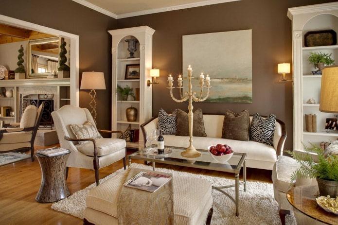 Бело-коричневый диван