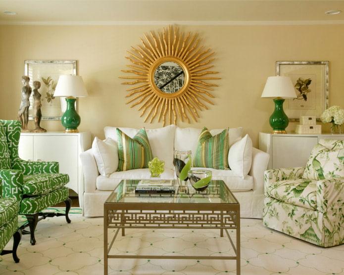 Бело-зеленый диван