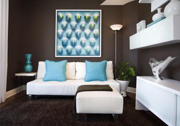 Бело-голубой диван