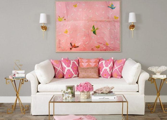 Бело-розовый маленький диван
