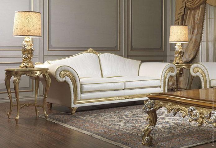 бело-золотой диван