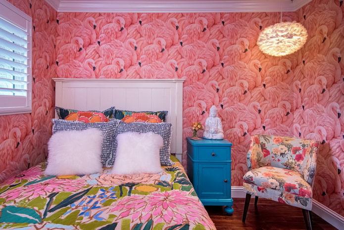 фламинго на обоях