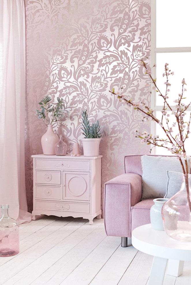 серебристо-розовые обои