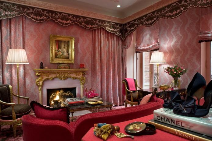 розовая гостиная комната