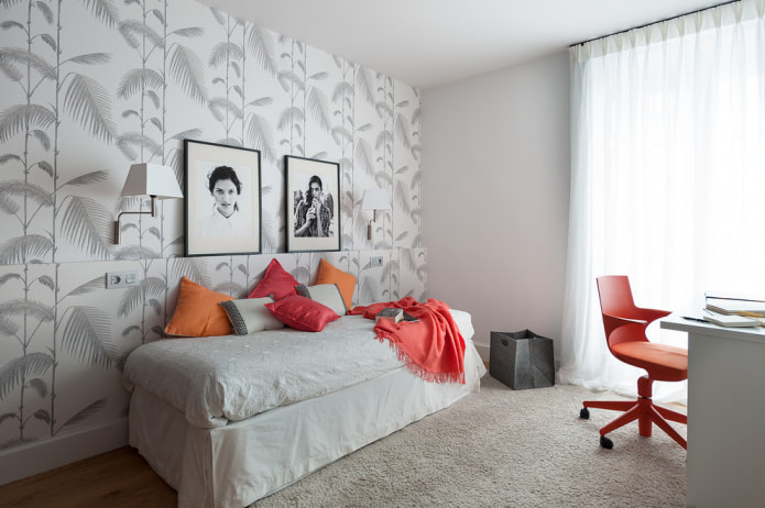 рисунок листья на акцентной стене