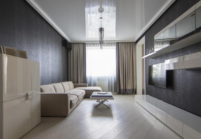 Черные стены и белый потолок