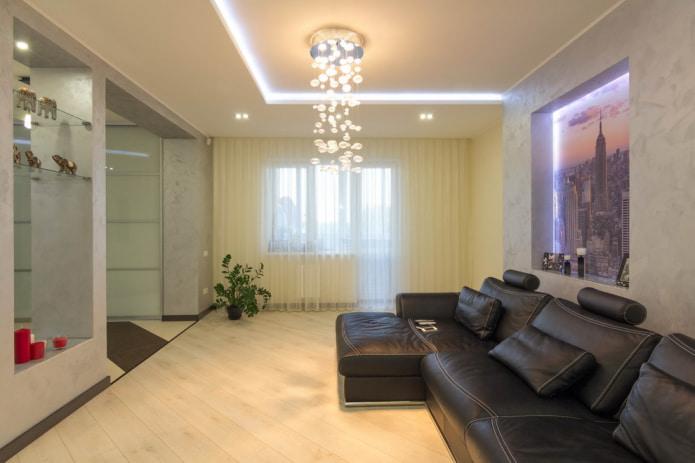 Подсветка потолка лентой
