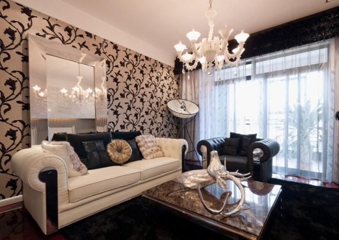 Черно-бежевый диван