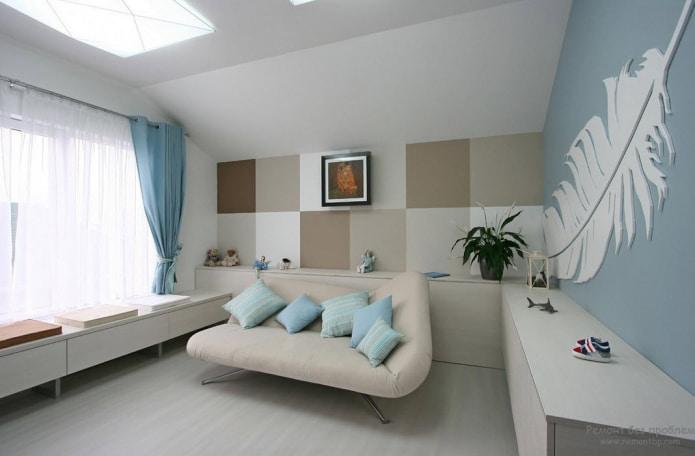 Бежево-голубой диван
