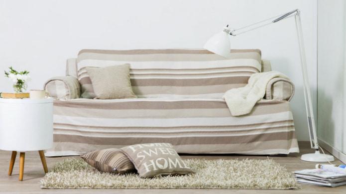 Бежевый диван в полоску