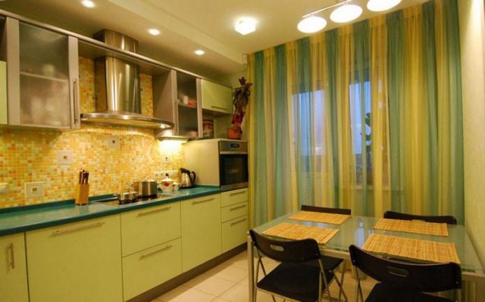 Желто-зеленая штора