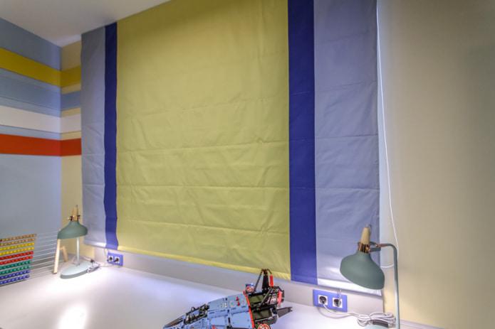 Желто-синяя штора