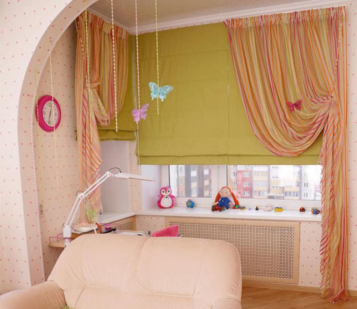 Желто-розовые шторы