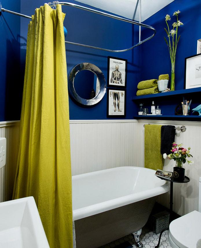 шторка в ванной на г-образном карнизе