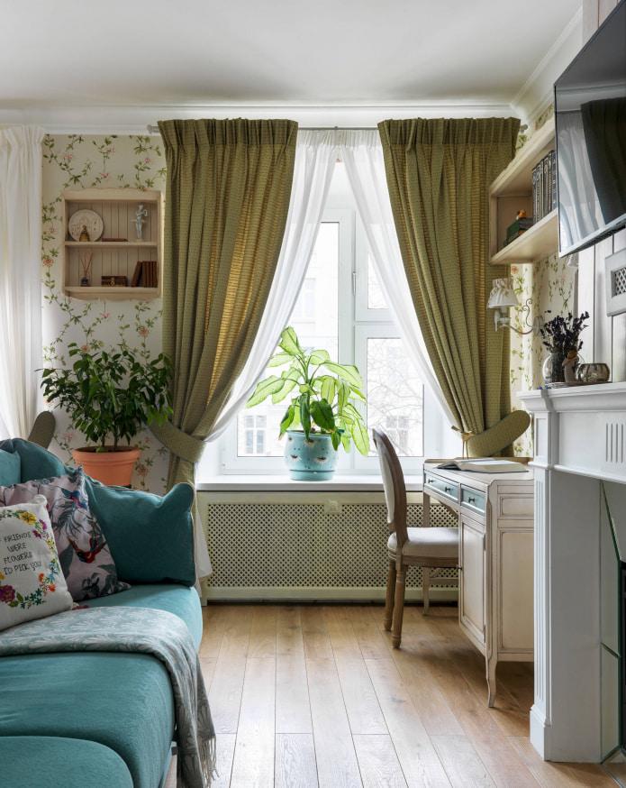 шторы с подхватом цвета оливы