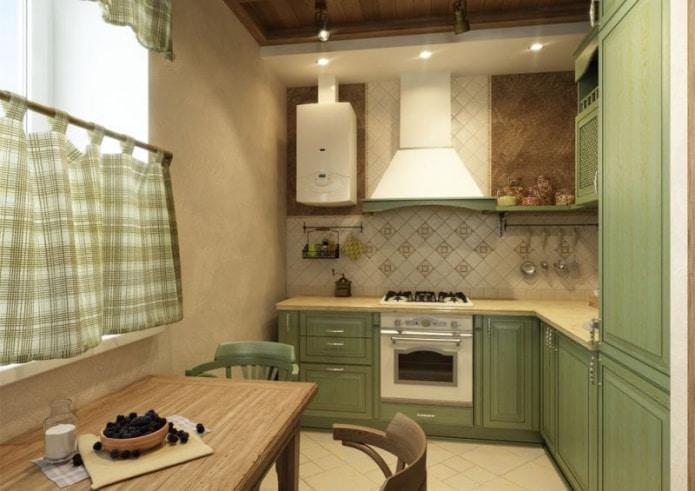 клетчатые шторы на кухне