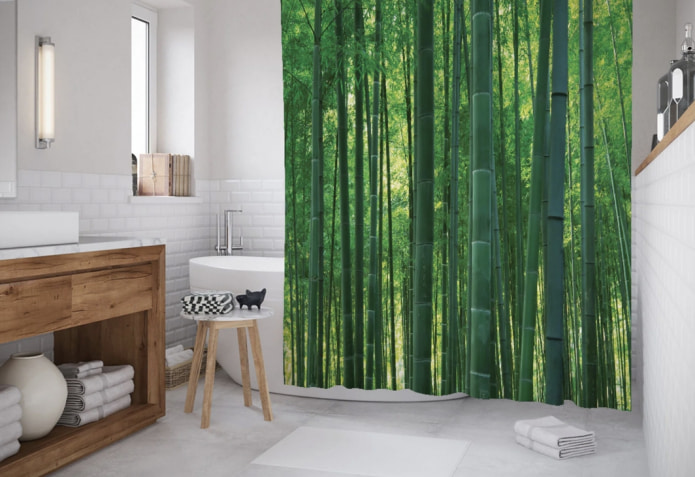 рисунок бамбуковый лес на шторке для ванной