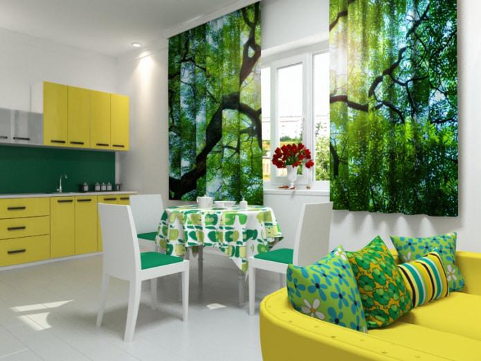 3д изображение леса на фотошторах