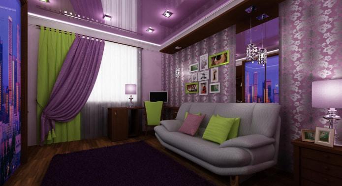 фиолетово-зеленая портьера