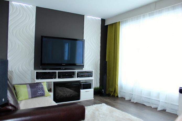 современная гостиная с зелеными портьерами