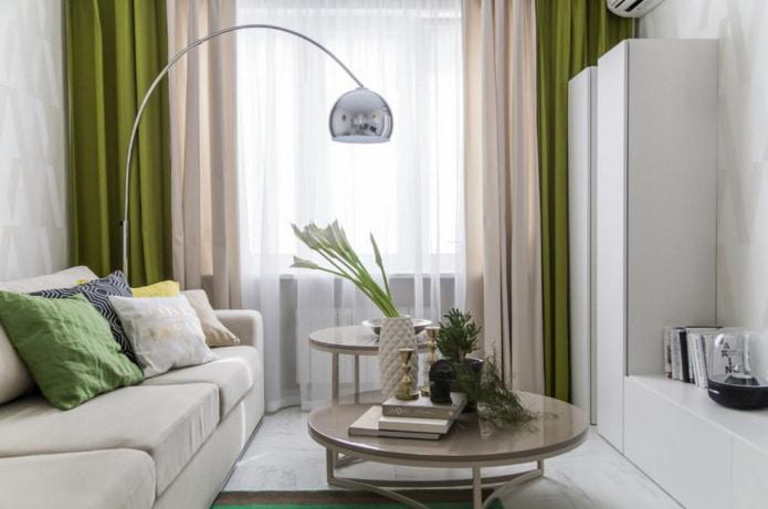 зелено-бежевые двойные шторы