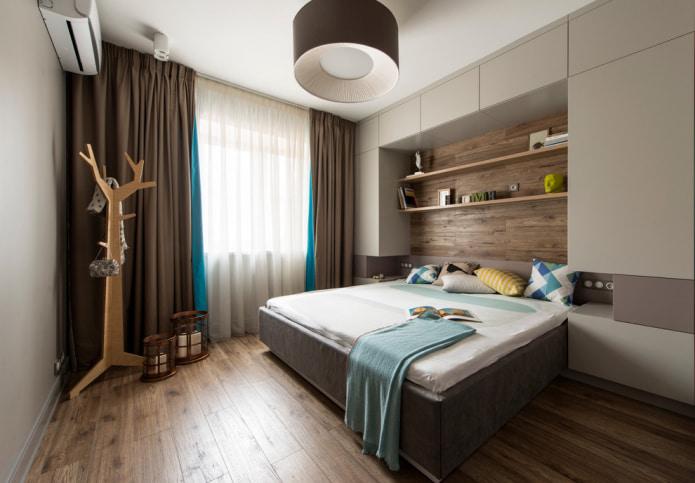 Длинная занавеска в спальне
