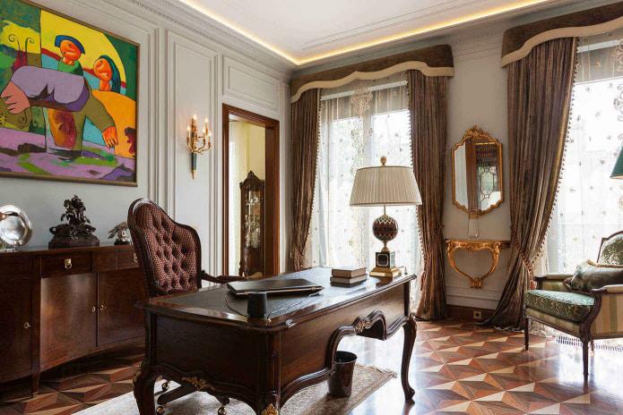 шторы в классическом стиле в кабинете