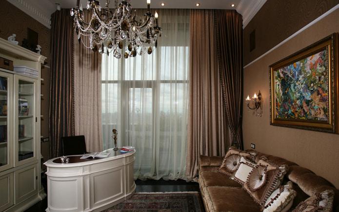 кофейные шторы в кабинете