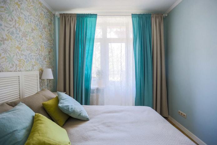 коричнево-бирюзовые шторы