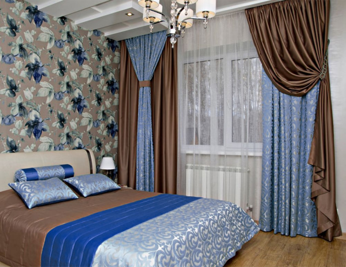 коричнево-синие шторы