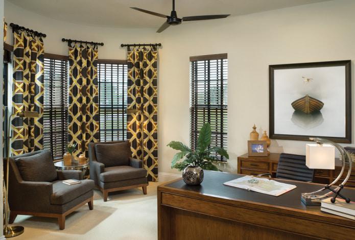коричнево-желтые шторы