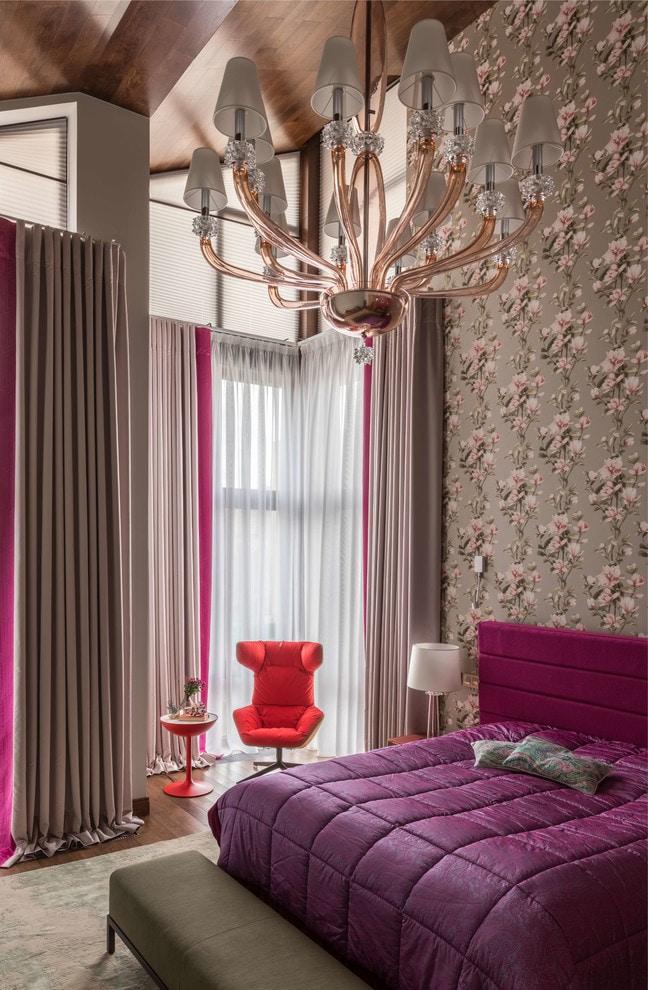 коричнево-розовые шторы