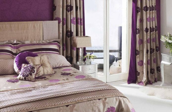 коричнево-фиолетовые шторы
