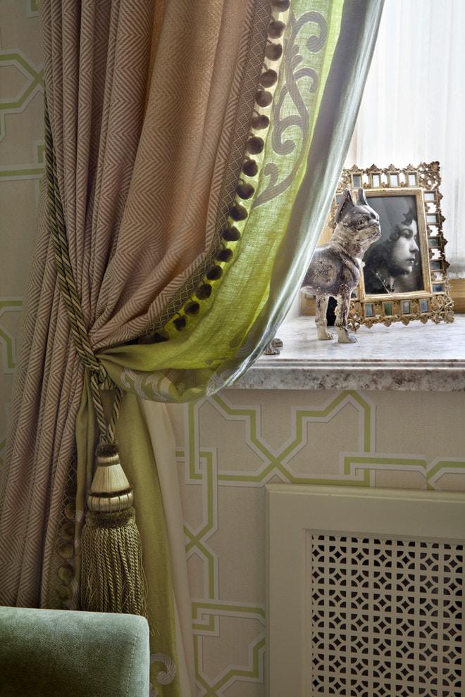 коричнево-зеленые шторы
