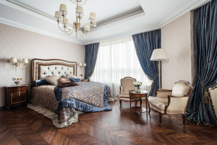 темно-синие шторы в спальне