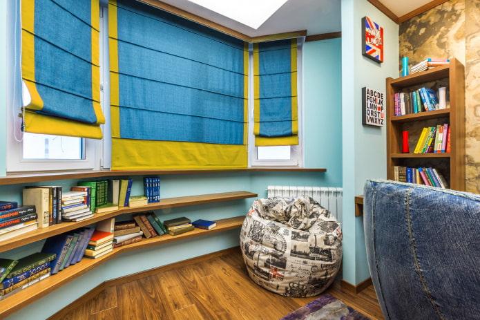 сине-желтые римские шторы