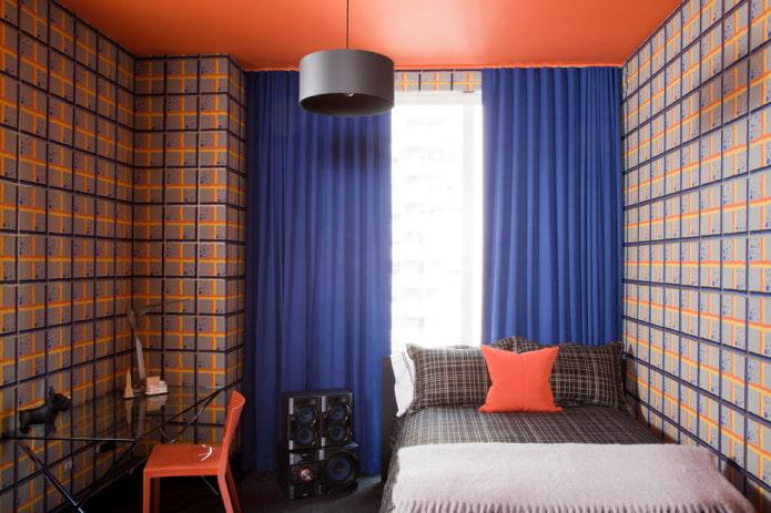 Ярко-синие шторы