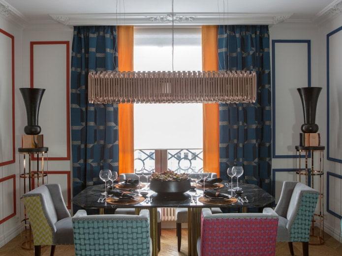 сине-оранжевые шторы