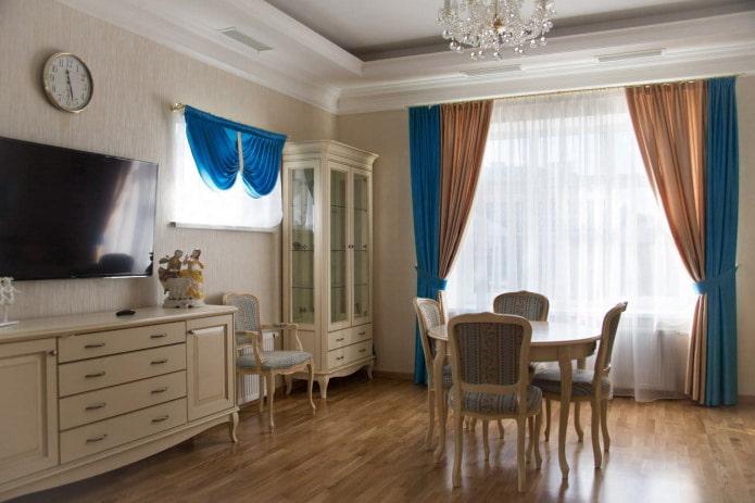 сине-золотые шторы