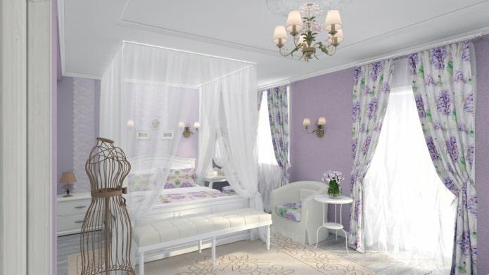 шторы с сочетанием сиреневого и белого цвета